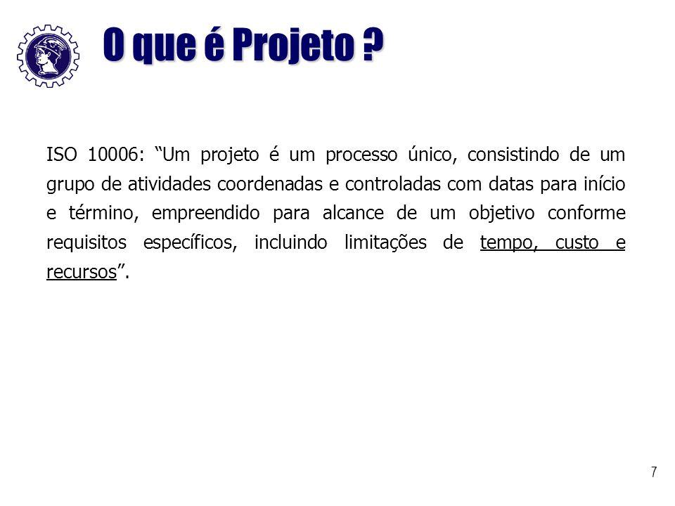 """7 ISO 10006: """"Um projeto é um processo único, consistindo de um grupo de atividades coordenadas e controladas com datas para início e término, empreen"""