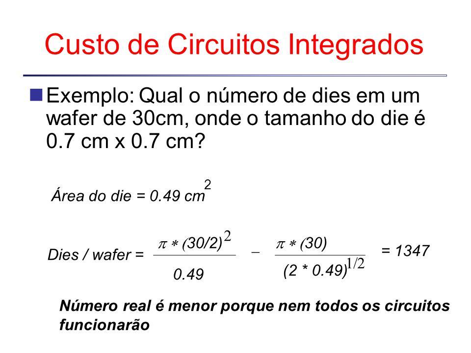 Custo de Circuitos Integrados Exemplo: Qual o número de dies em um wafer de 30cm, onde o tamanho do die é 0.7 cm x 0.7 cm.