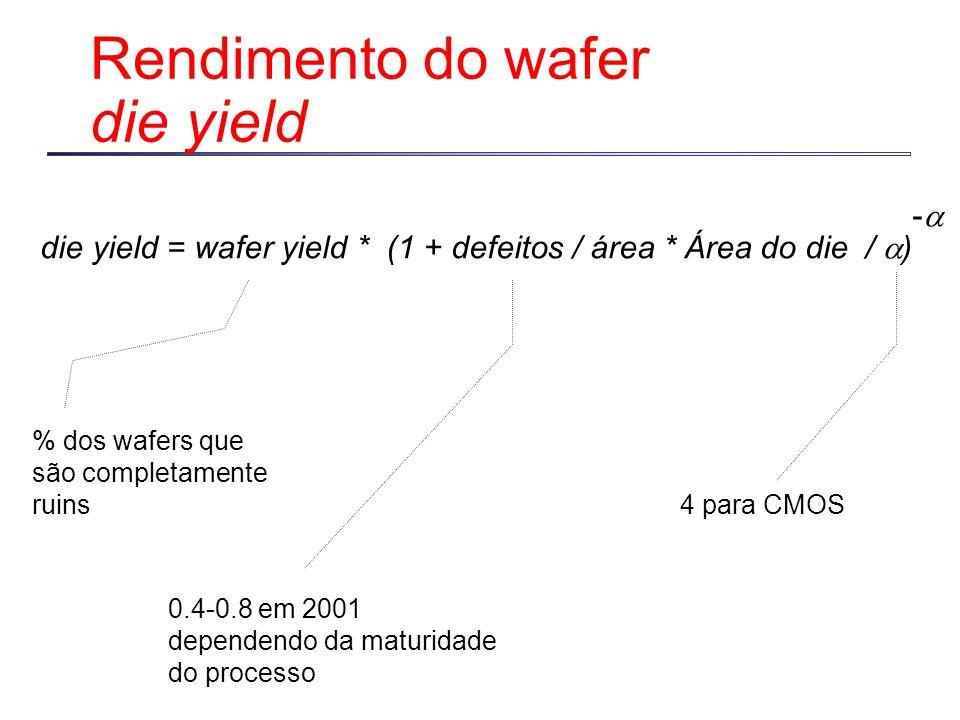 Rendimento do wafer die yield die yield = wafer yield * (1 + defeitos / área * Área do die /  ) % dos wafers que são completamente ruins -- 0.4-0.8 em 2001 dependendo da maturidade do processo 4 para CMOS