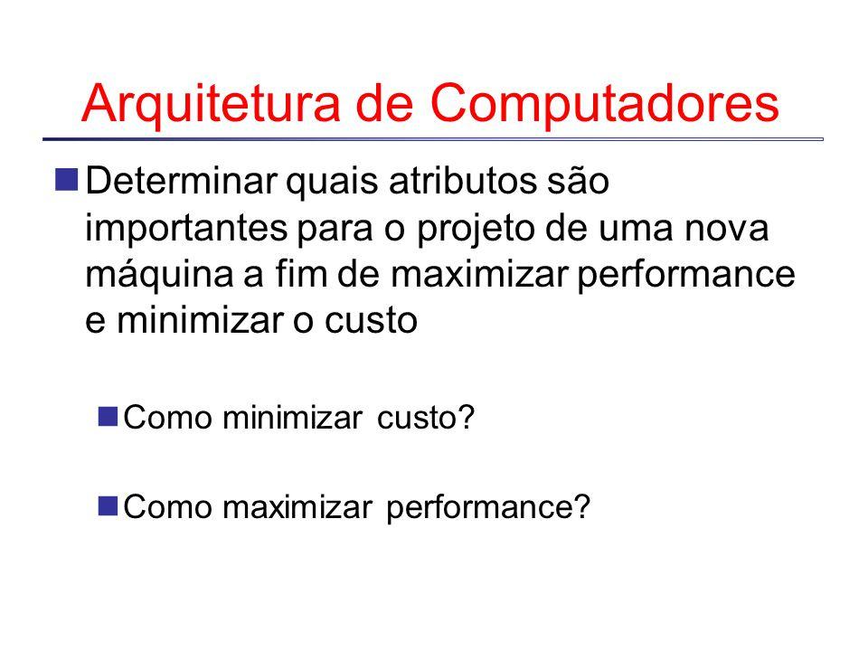 Arquitetura de Computadores Determinar quais atributos são importantes para o projeto de uma nova máquina a fim de maximizar performance e minimizar o custo Como minimizar custo.
