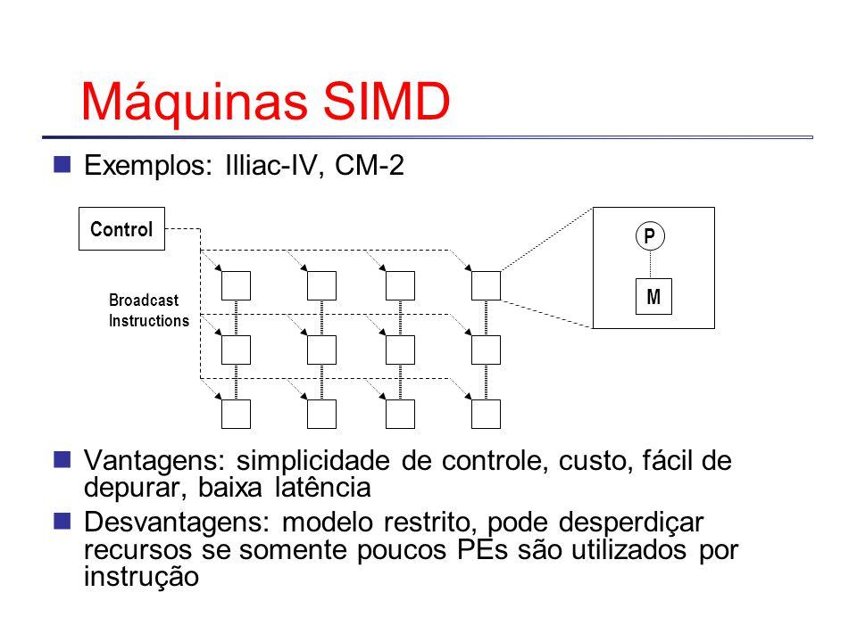 Máquinas SIMD Exemplos: Illiac-IV, CM-2 Vantagens: simplicidade de controle, custo, fácil de depurar, baixa latência Desvantagens: modelo restrito, pode desperdiçar recursos se somente poucos PEs são utilizados por instrução P M Control Broadcast Instructions