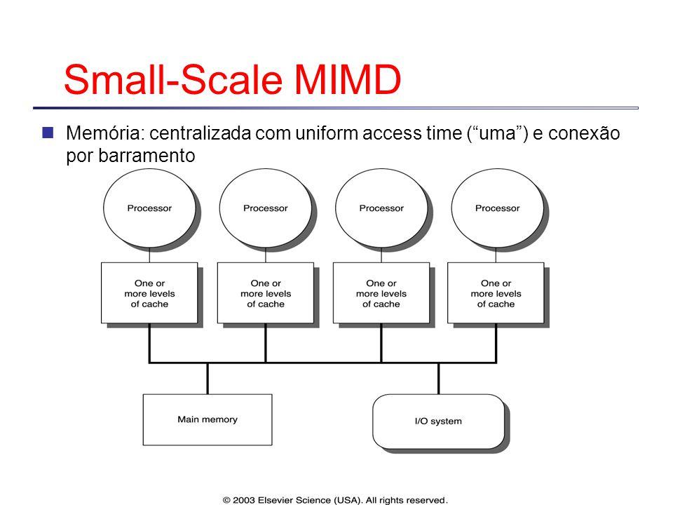 """Small-Scale MIMD Memória: centralizada com uniform access time (""""uma"""") e conexão por barramento"""