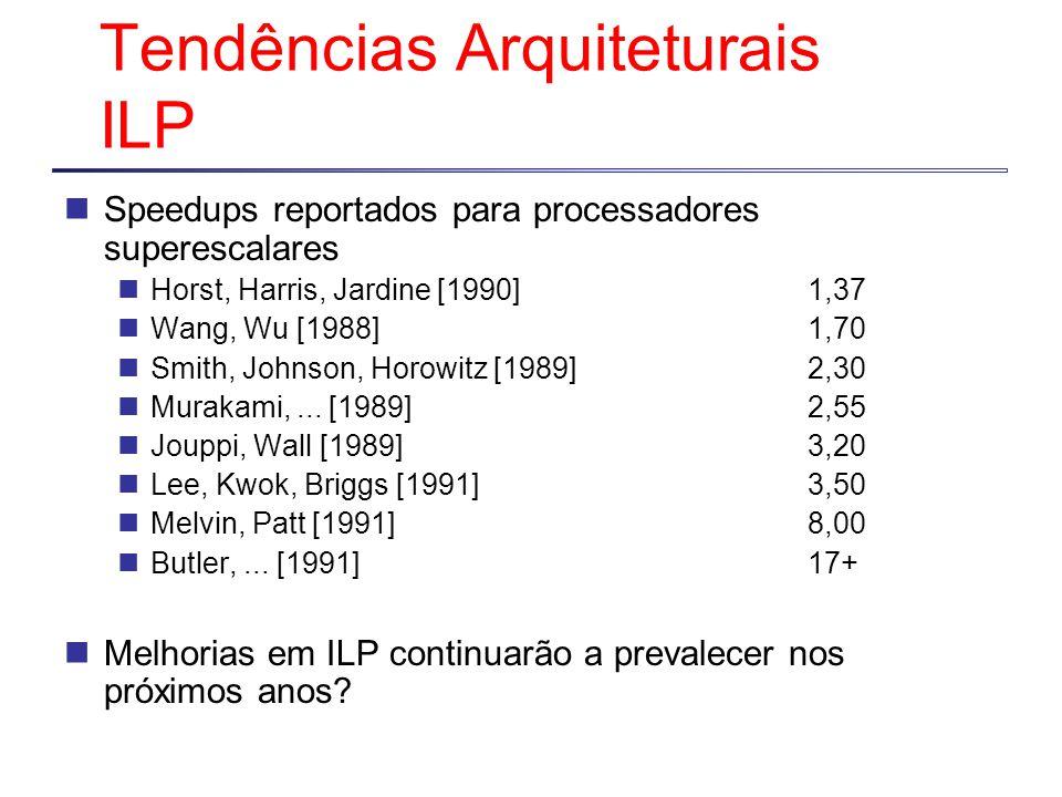 Tendências Arquiteturais ILP Speedups reportados para processadores superescalares Horst, Harris, Jardine [1990]1,37 Wang, Wu [1988]1,70 Smith, Johnson, Horowitz [1989]2,30 Murakami,...