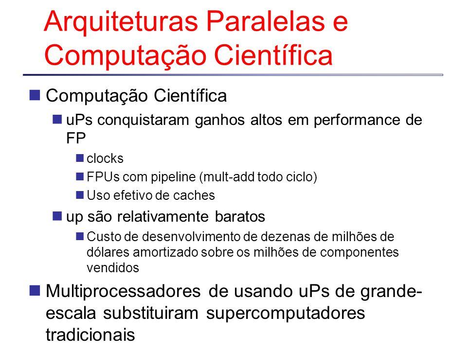 Arquiteturas Paralelas e Computação Científica Computação Científica uPs conquistaram ganhos altos em performance de FP clocks FPUs com pipeline (mult-add todo ciclo) Uso efetivo de caches up são relativamente baratos Custo de desenvolvimento de dezenas de milhões de dólares amortizado sobre os milhões de componentes vendidos Multiprocessadores de usando uPs de grande- escala substituiram supercomputadores tradicionais