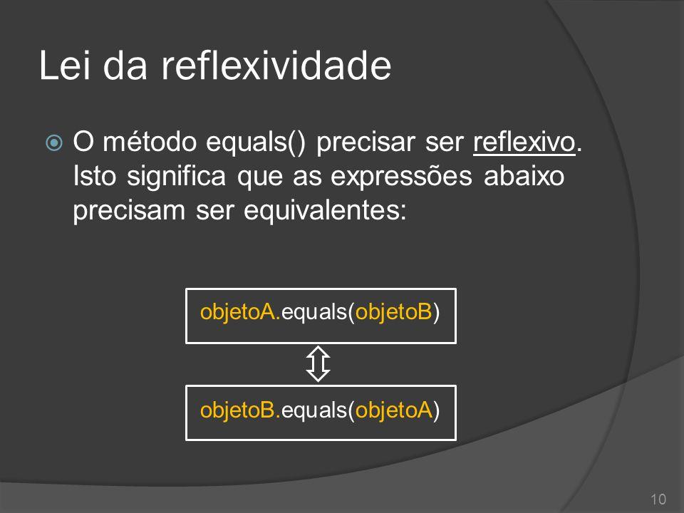 Lei da reflexividade  O método equals() precisar ser reflexivo. Isto significa que as expressões abaixo precisam ser equivalentes: objetoA.equals(obj