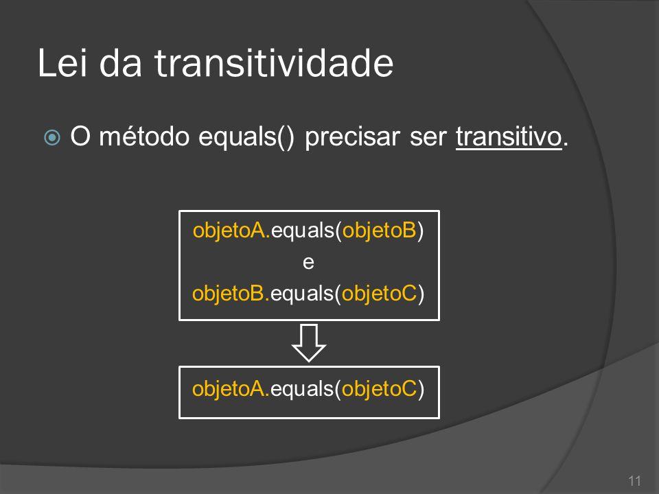 Lei da transitividade  O método equals() precisar ser transitivo. objetoA.equals(objetoB) e objetoB.equals(objetoC) objetoA.equals(objetoC) 11