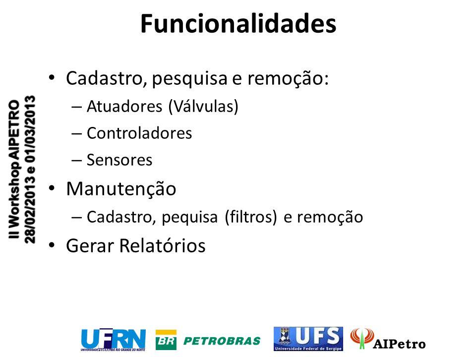 Funcionalidades Cadastro, pesquisa e remoção: – Atuadores (Válvulas) – Controladores – Sensores Manutenção – Cadastro, pequisa (filtros) e remoção Gerar Relatórios