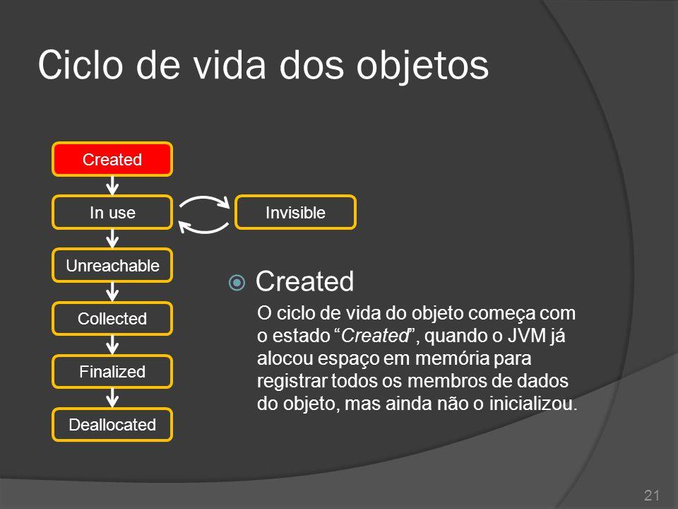 Ciclo de vida dos objetos  In use Após a criação, o JVM realiza a inicialização do objeto, executando os passos na seguinte ordem 1.