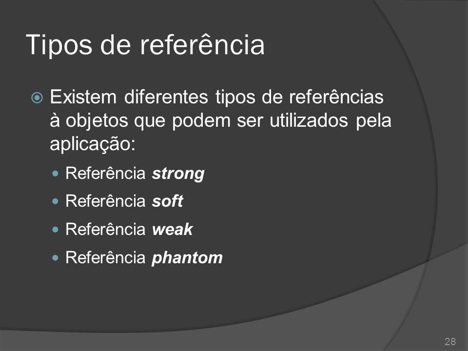 Tipos de referência  Referência strong Referência strong Referência soft Referência weak Referência phantom 29