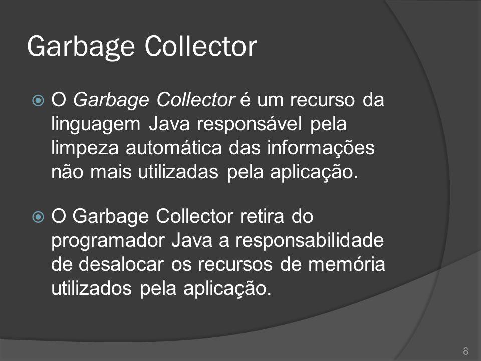 Execução do Garbage Collector  O Garbage Collector é automaticamente executado de tempos em tempos pelo JVM.