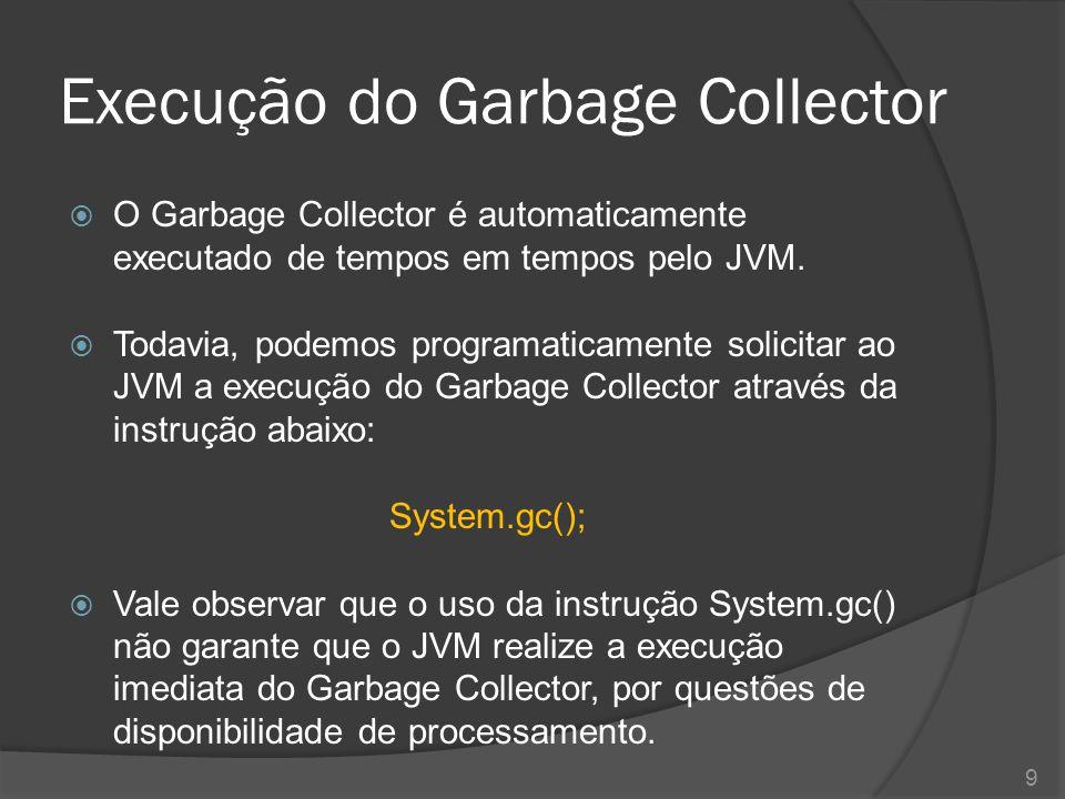 O método finalize()  Ao coletar cada um dos objetos considerados lixo de memória, o Garbage Collector executa para cada um deles o método finalize()  O finalize() – também chamado de método destrutor – é um método presente na classe Object e, portanto, herdado por toda e qualquer classe presente na linguagem.