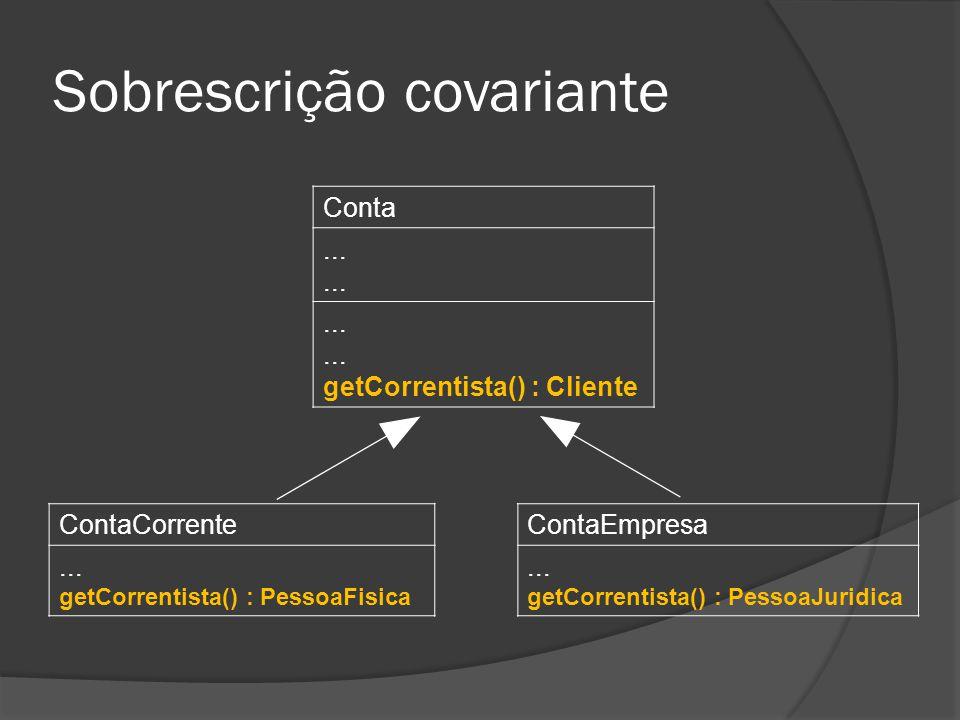 Sobrescrição covariante Conta......... getCorrentista() : Cliente ContaEmpresa... getCorrentista() : PessoaJuridica ContaCorrente... getCorrentista()