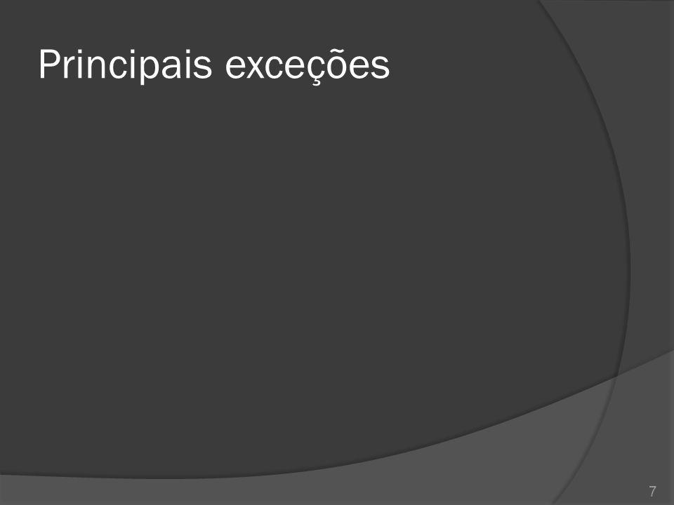 Principais métodos de exceções 8