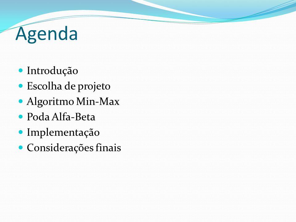 Agenda Introdução Escolha de projeto Algoritmo Min-Max Poda Alfa-Beta Implementação Considerações finais