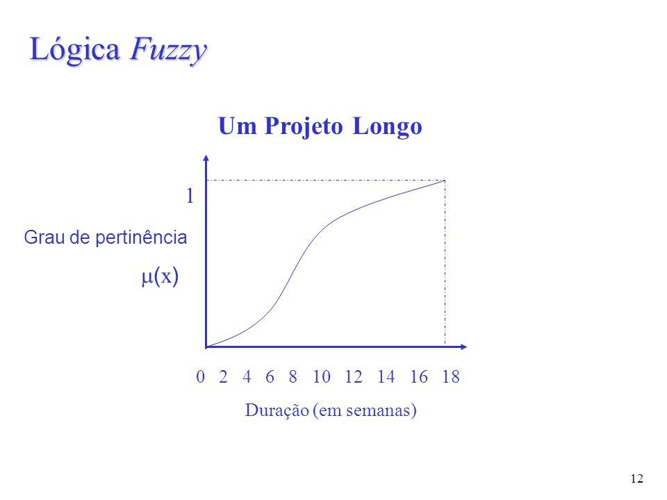 12 Lógica Fuzzy Grau de pertinência  ( x ) 0 2 4 6 8 10 12 14 16 18 Duração (em semanas) 1 Um Projeto Longo