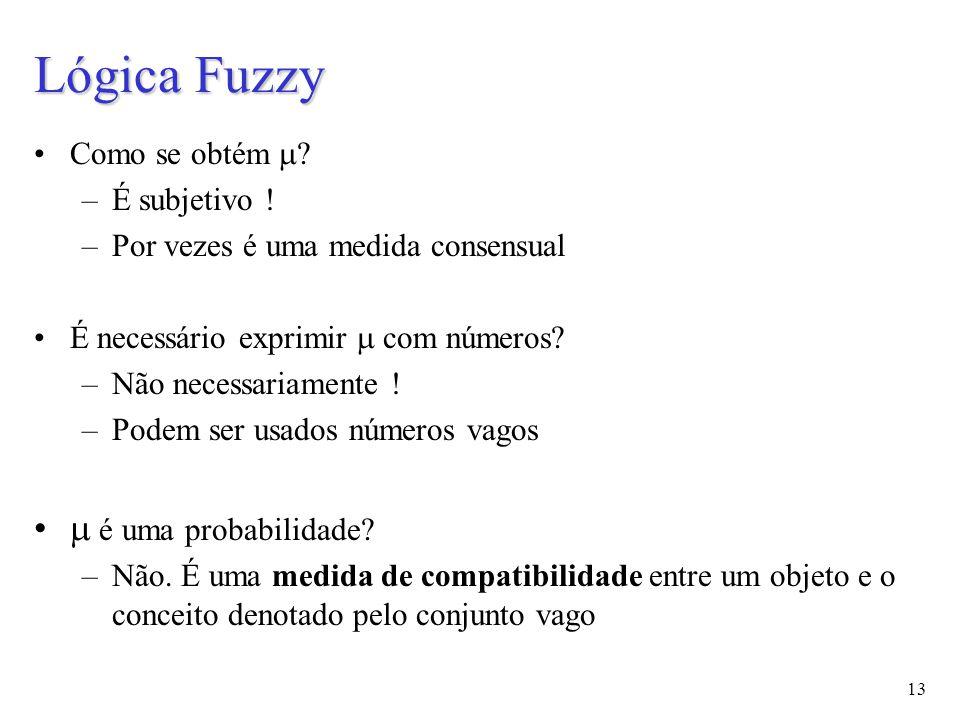 13 Lógica Fuzzy Como se obtém  . –É subjetivo .