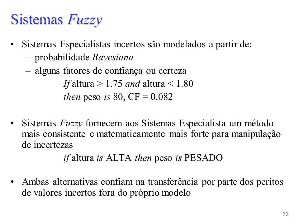 22 Sistemas Fuzzy Sistemas Especialistas incertos são modelados a partir de: –probabilidade Bayesiana –alguns fatores de confiança ou certeza If altura > 1.75 and altura < 1.80 then peso is 80, CF = 0.082 Sistemas Fuzzy fornecem aos Sistemas Especialista um método mais consistente e matematicamente mais forte para manipulação de incertezas if altura is ALTA then peso is PESADO Ambas alternativas confiam na transferência por parte dos peritos de valores incertos fora do próprio modelo