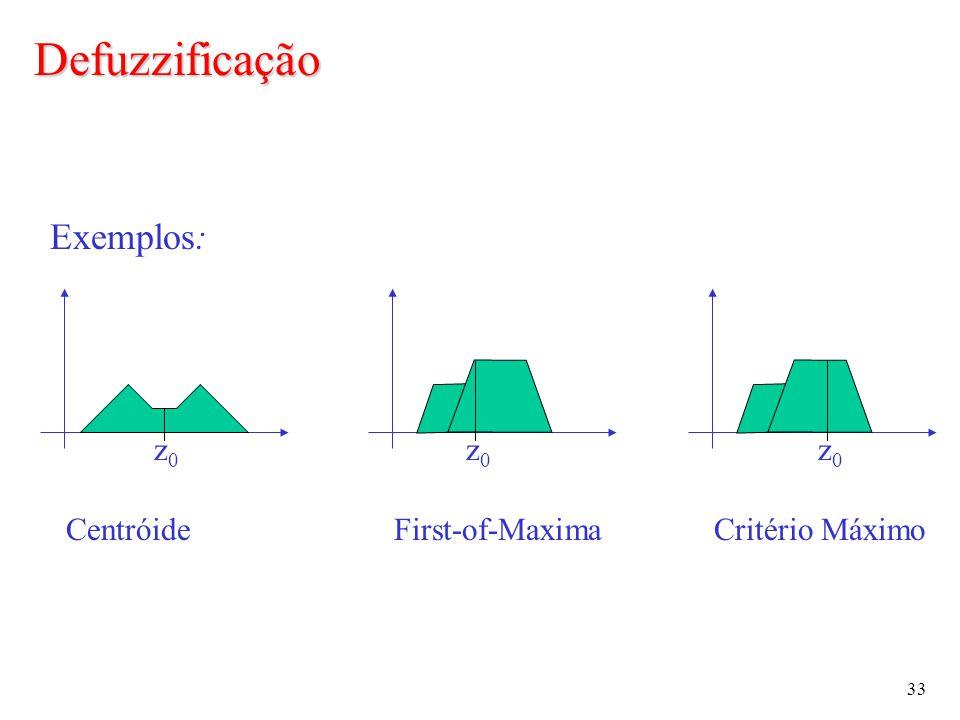 33 Exemplos: z0z0 z0z0 z0z0 CentróideFirst-of-MaximaCritério Máximo Defuzzificação
