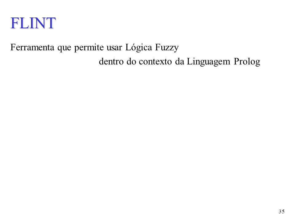 35 FLINT Ferramenta que permite usar Lógica Fuzzy dentro do contexto da Linguagem Prolog