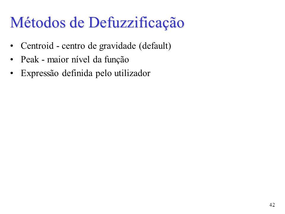 42 Centroid - centro de gravidade (default) Peak - maior nível da função Expressão definida pelo utilizador Métodos de Defuzzificação
