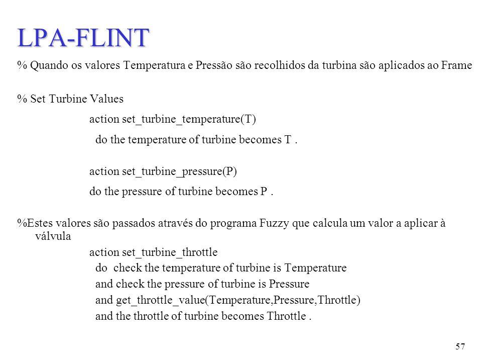 57 LPA-FLINT % Quando os valores Temperatura e Pressão são recolhidos da turbina são aplicados ao Frame % Set Turbine Values action set_turbine_temperature(T) do the temperature of turbine becomes T.