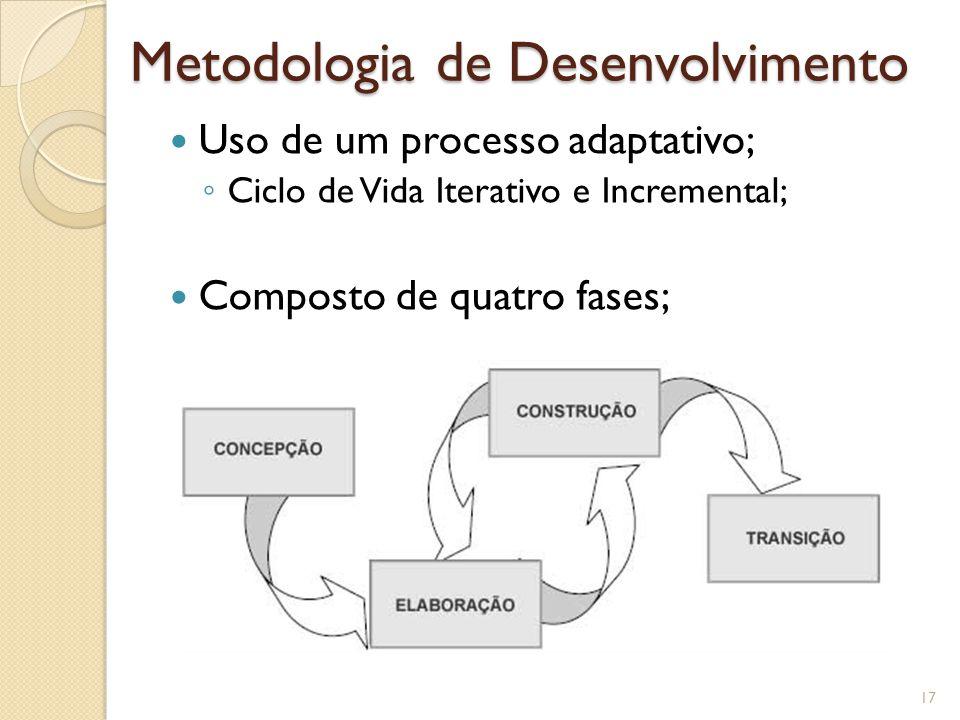 Metodologia de Desenvolvimento Uso de um processo adaptativo; ◦ Ciclo de Vida Iterativo e Incremental; Composto de quatro fases; 17
