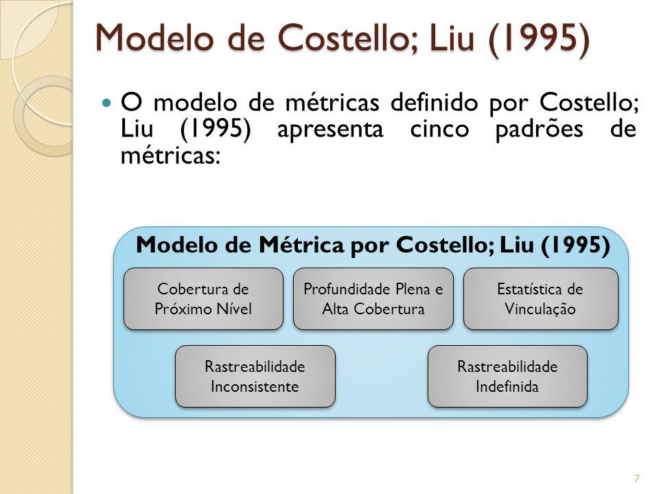 O modelo de métricas definido por Costello; Liu (1995) apresenta cinco padrões de métricas: Modelo de Costello; Liu (1995) Profundidade Plena e Alta Cobertura Estatística de Vinculação Cobertura de Próximo Nível Rastreabilidade Indefinida Rastreabilidade Inconsistente Modelo de Métrica por Costello; Liu (1995) 7