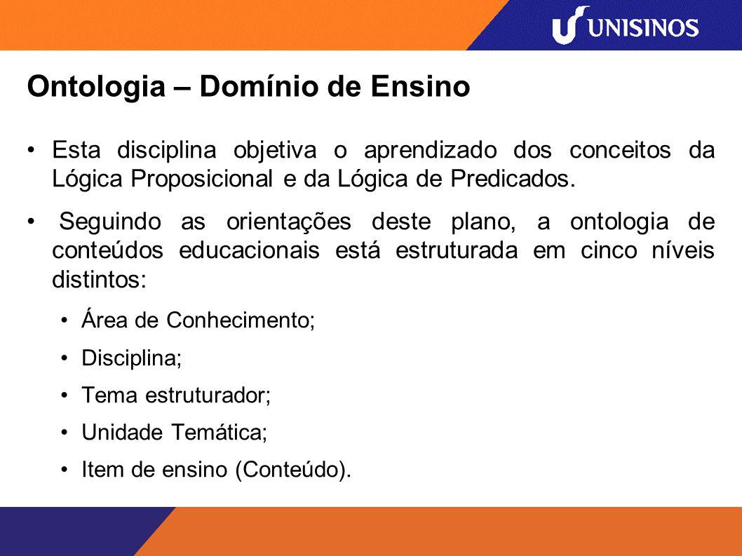 Ontologia – Domínio de Ensino Esta disciplina objetiva o aprendizado dos conceitos da Lógica Proposicional e da Lógica de Predicados.