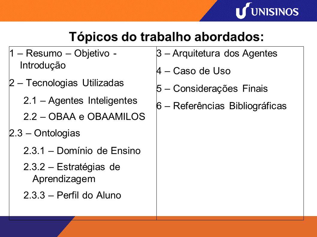 Tópicos do trabalho abordados: 1 – Resumo – Objetivo - Introdução 2 – Tecnologias Utilizadas 2.1 – Agentes Inteligentes 2.2 – OBAA e OBAAMILOS 2.3 – Ontologias 2.3.1 – Domínio de Ensino 2.3.2 – Estratégias de Aprendizagem 2.3.3 – Perfil do Aluno 3 – Arquitetura dos Agentes 4 – Caso de Uso 5 – Considerações Finais 6 – Referências Bibliográficas