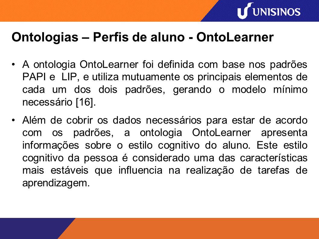 Ontologias – Perfis de aluno - OntoLearner A ontologia OntoLearner foi definida com base nos padrões PAPI e LIP, e utiliza mutuamente os principais elementos de cada um dos dois padrões, gerando o modelo mínimo necessário [16].