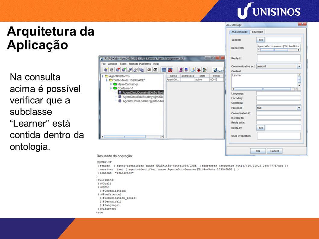 Arquitetura da Aplicação Na consulta acima é possível verificar que a subclasse Learner está contida dentro da ontologia.