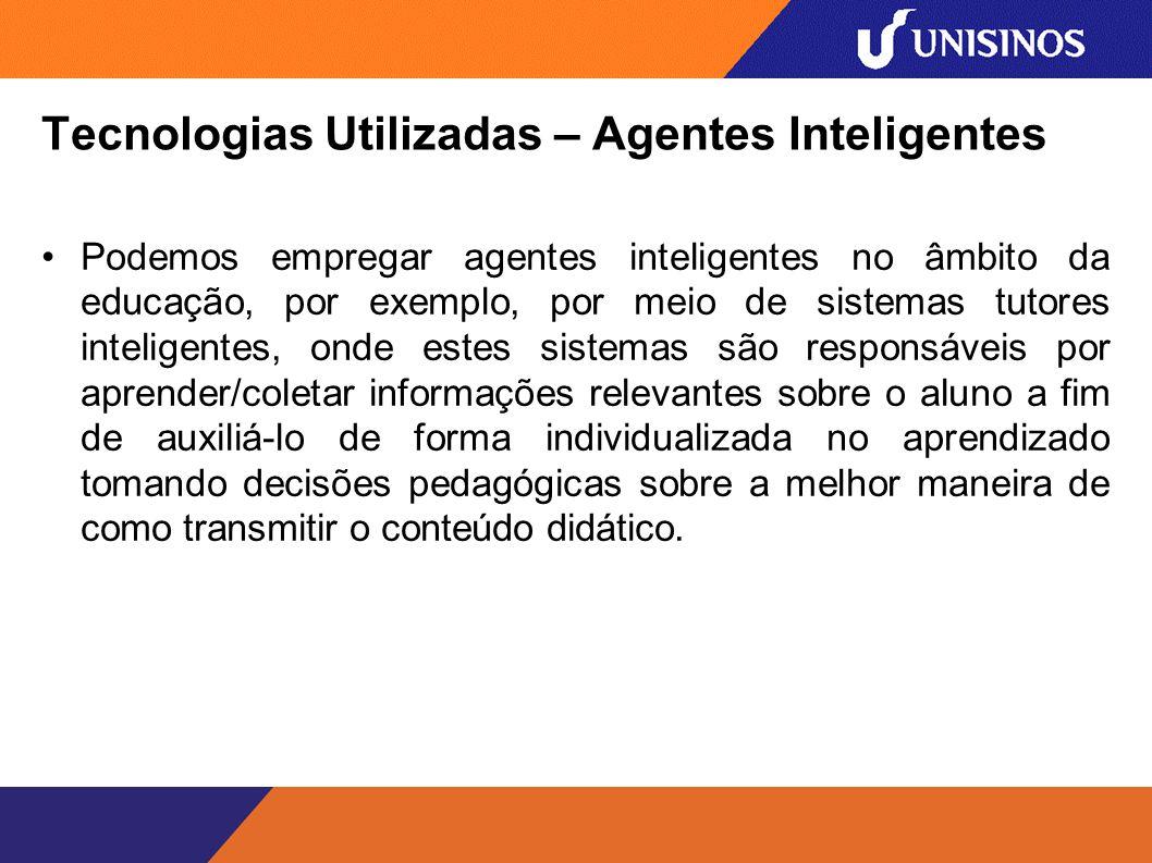 Tecnologias Utilizadas – Agentes Inteligentes A figura abaixo descreve o modo como o sistema se relaciona com as ontologias, OAs e aluno.