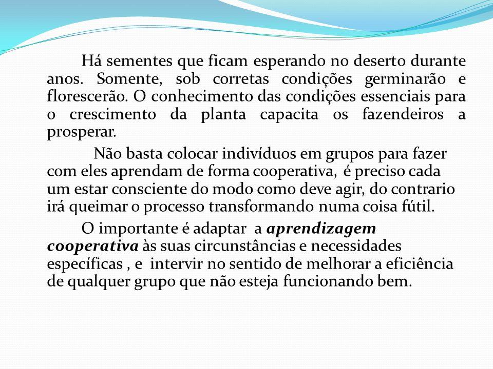 ELEMENTOS QUE SUSTENTAM A APRENDIZAGEM COOPERATIVA Interdependência positiva; Responsabilidade individual; Interação promotora; Habilidade sociais/interação face-a-face; Processamento de grupo.