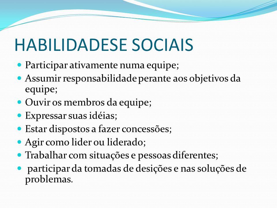 HABILIDADESE SOCIAIS Participar ativamente numa equipe; Assumir responsabilidade perante aos objetivos da equipe; Ouvir os membros da equipe; Expressa