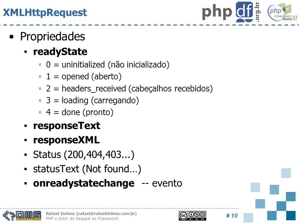 Rafael Dohms [rafael@rafaeldohms.com.br] PHP e AJAX: do Request ao Framework # 10 XMLHttpRequest Propriedades ▪readyState ▫0 = uninitialized (não inicializado) ▫1 = opened (aberto) ▫2 = headers_received (cabeçalhos recebidos) ▫3 = loading (carregando) ▫4 = done (pronto) ▪responseText ▪responseXML ▪Status (200,404,403...) ▪statusText (Not found…) ▪onreadystatechange -- evento