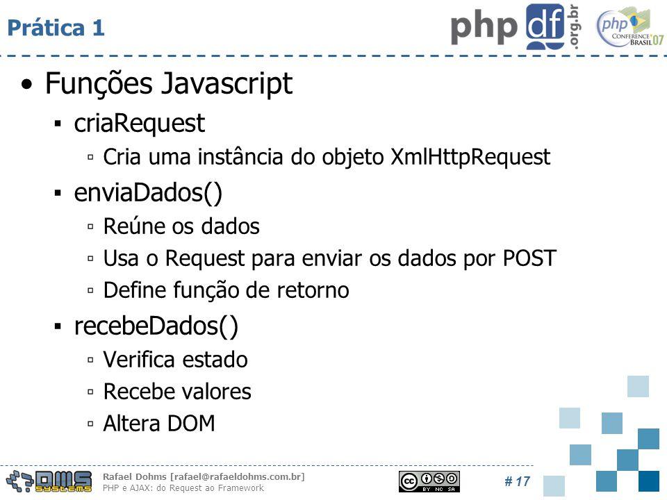 Rafael Dohms [rafael@rafaeldohms.com.br] PHP e AJAX: do Request ao Framework # 17 Prática 1 Funções Javascript ▪criaRequest ▫Cria uma instância do objeto XmlHttpRequest ▪enviaDados() ▫Reúne os dados ▫Usa o Request para enviar os dados por POST ▫Define função de retorno ▪recebeDados() ▫Verifica estado ▫Recebe valores ▫Altera DOM