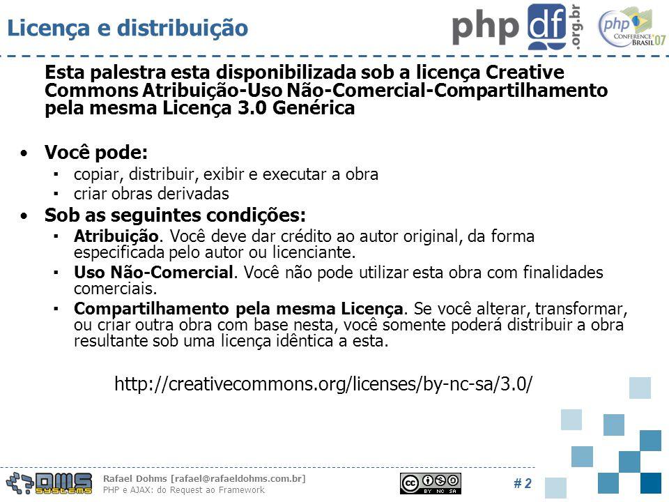 Rafael Dohms [rafael@rafaeldohms.com.br] PHP e AJAX: do Request ao Framework # 2 Licença e distribuição Esta palestra esta disponibilizada sob a licença Creative Commons Atribuição-Uso Não-Comercial-Compartilhamento pela mesma Licença 3.0 Genérica Você pode: ▪copiar, distribuir, exibir e executar a obra ▪criar obras derivadas Sob as seguintes condições: ▪Atribuição.