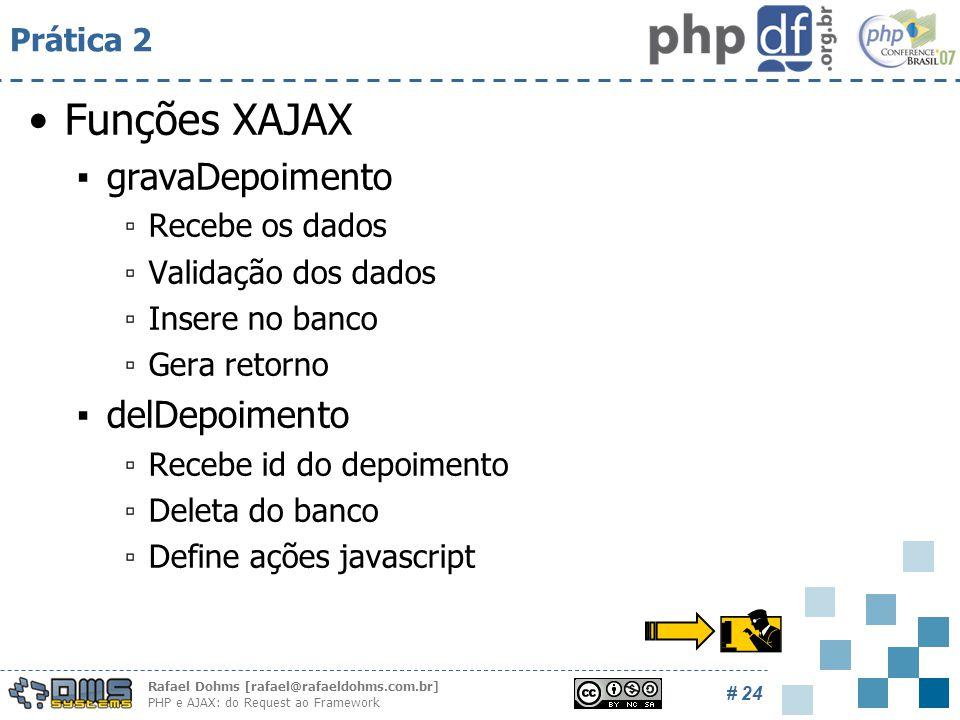 Rafael Dohms [rafael@rafaeldohms.com.br] PHP e AJAX: do Request ao Framework # 24 Prática 2 Funções XAJAX ▪gravaDepoimento ▫Recebe os dados ▫Validação dos dados ▫Insere no banco ▫Gera retorno ▪delDepoimento ▫Recebe id do depoimento ▫Deleta do banco ▫Define ações javascript