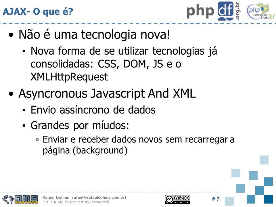 Rafael Dohms [rafael@rafaeldohms.com.br] PHP e AJAX: do Request ao Framework # 7 AJAX- O que é.