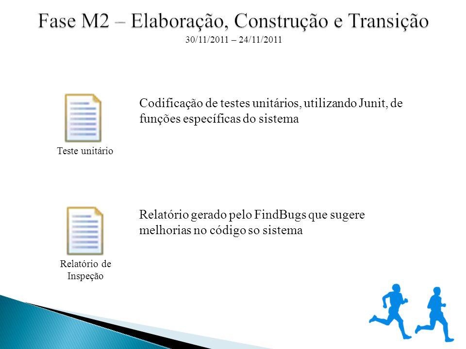Codificação de testes unitários, utilizando Junit, de funções específicas do sistema Relatório gerado pelo FindBugs que sugere melhorias no código so sistema 30/11/2011 – 24/11/2011 Teste unitário Relatório de Inspeção