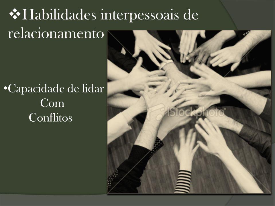  Habilidades interpessoais de relacionamento Capacidade de lidar Com Conflitos