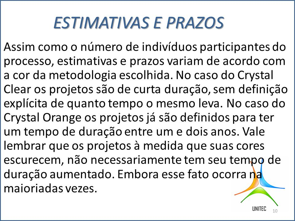 ESTIMATIVAS E PRAZOS Assim como o número de indivíduos participantes do processo, estimativas e prazos variam de acordo com a cor da metodologia escolhida.