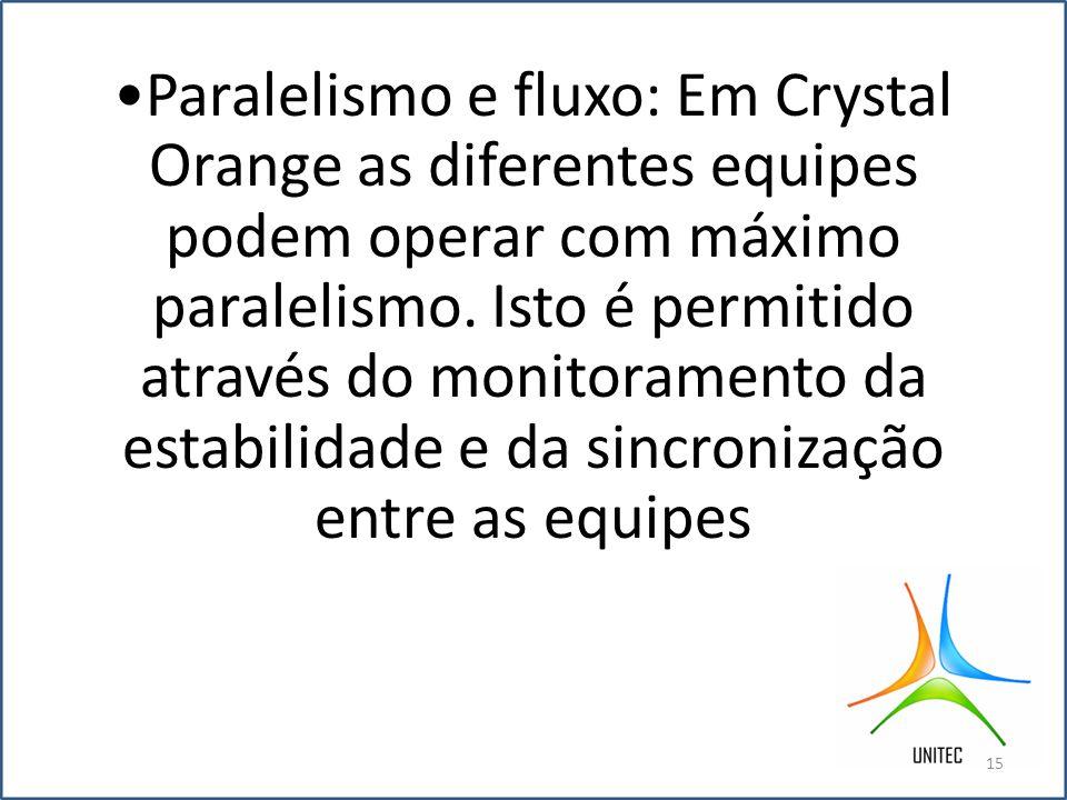 Paralelismo e fluxo: Em Crystal Orange as diferentes equipes podem operar com máximo paralelismo.