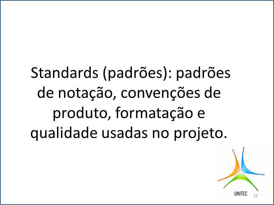 Standards (padrões): padrões de notação, convenções de produto, formatação e qualidade usadas no projeto.