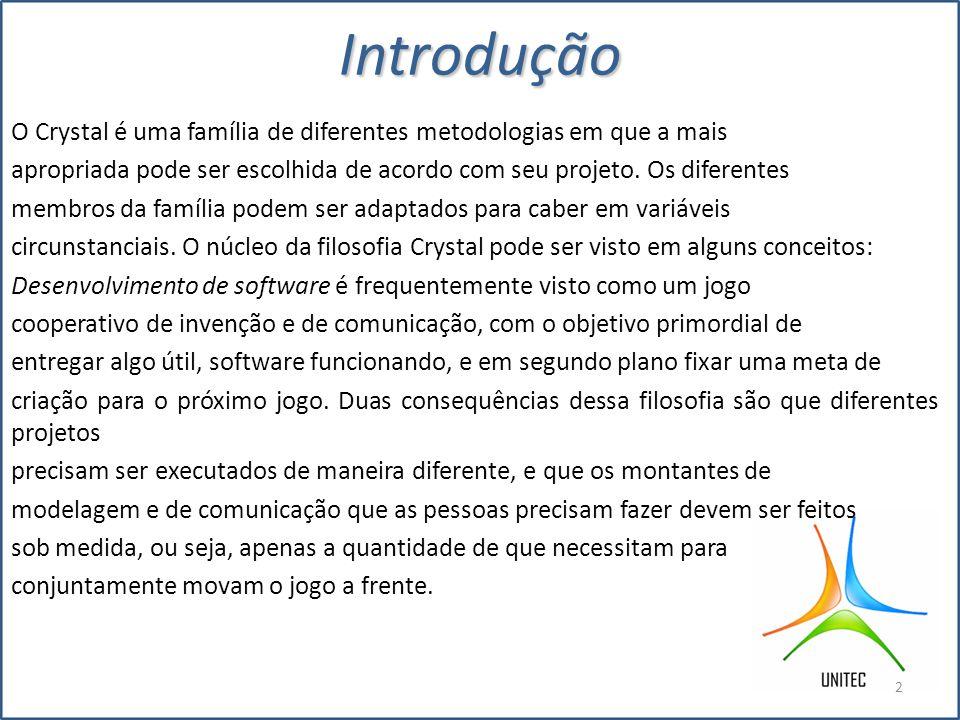 História A família de metodologias Crystal foi iniciada em 1992, antes do XP,FDD entre outras.
