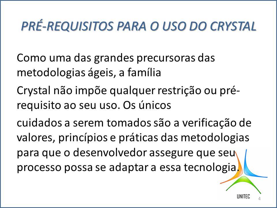 PRÉ-REQUISITOS PARA O USO DO CRYSTAL Como uma das grandes precursoras das metodologias ágeis, a família Crystal não impõe qualquer restrição ou pré- requisito ao seu uso.