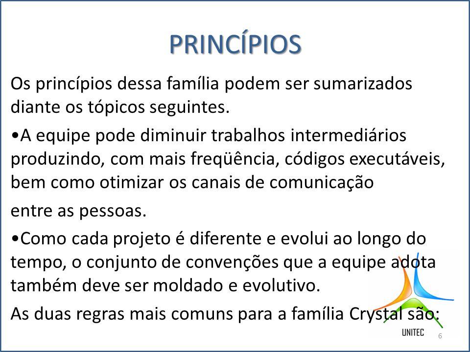 Conclusão Concluímos com esse trabalho a eficácia do metodologia da Família CRYSTAL,que se adapta a qualquer projeto, seja ela grande ou pequeno simples ou complexo.