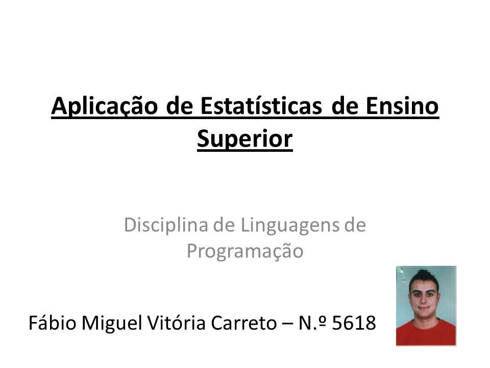 Aplicação de Estatísticas de Ensino Superior Disciplina de Linguagens de Programação Fábio Miguel Vitória Carreto – N.º 5618