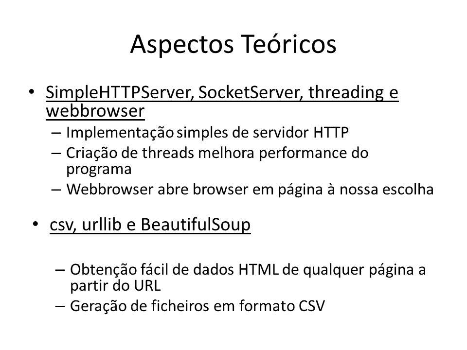 Aspectos Teóricos SimpleHTTPServer, SocketServer, threading e webbrowser – Implementação simples de servidor HTTP – Criação de threads melhora perform