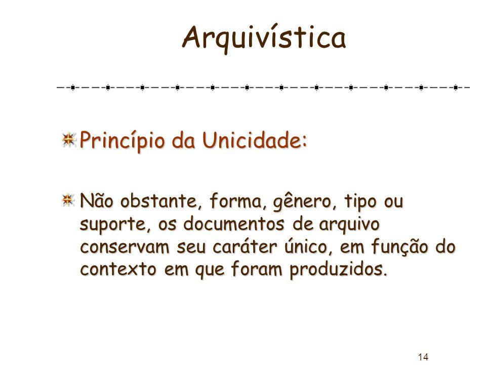 14 Arquivística Princípio da Unicidade: Não obstante, forma, gênero, tipo ou suporte, os documentos de arquivo conservam seu caráter único, em função